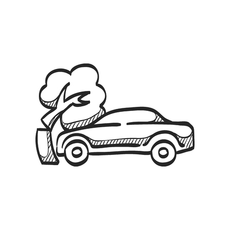 car: Car crash icon in doodle sketch lines. Automotive accident incident insurance claim