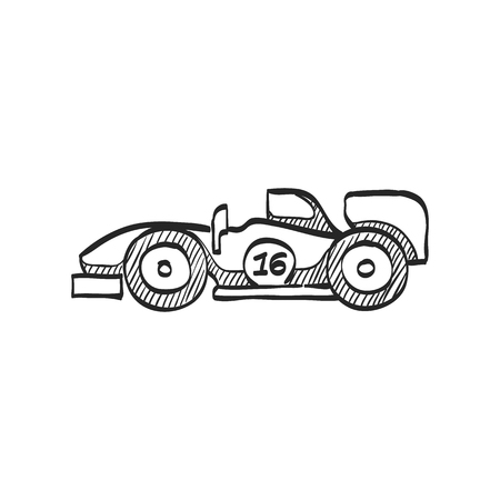 car speed: Race car icon in doodle sketch lines. Rally sport circuit lane formula