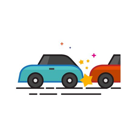 Car crash icon in outlined flat color style. Vector illustration.