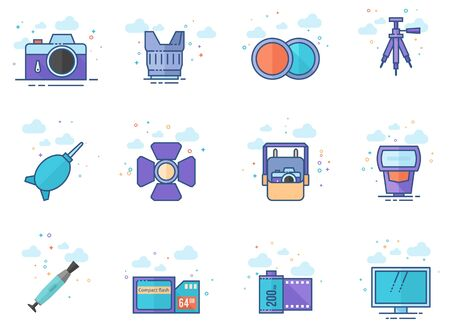 Photography icons in flat color style. Vector illustration.