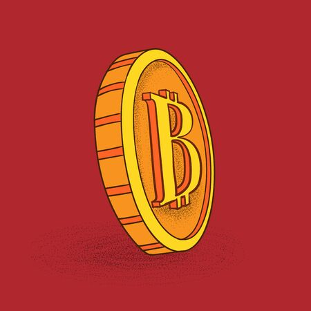 Bitcoin sign icon in sketch style.