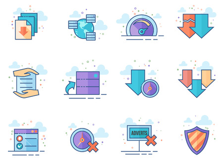 File sharing icon series in flat color style. Vector illustration. Illustration