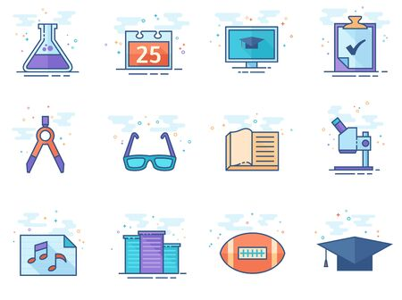 More school icon series in flat color style. Vector illustration. Illustration