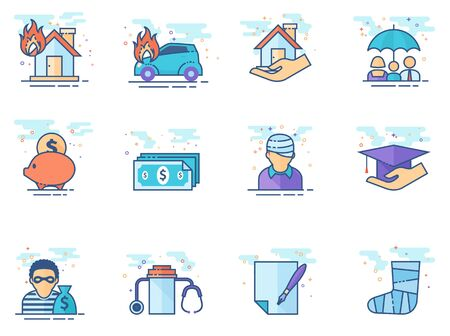 Insurance icons in flat color style. Vector illustration. Illustration