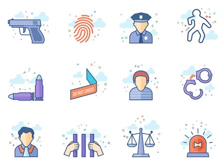 Crime icons in flat color style. Vector illustration.