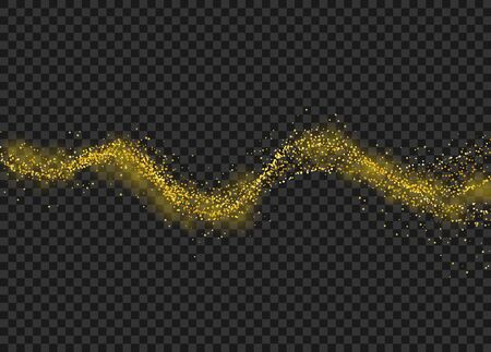 Gold dust particles. Glitter sparkle trail on transsparent checkered background. Vector illustration