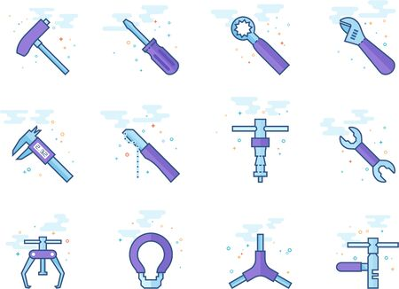 Bicycle tools icon series in flat color style. Vector illustration.