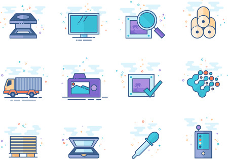 Printing & graphic design icon series in flat color style. Vector illustration.