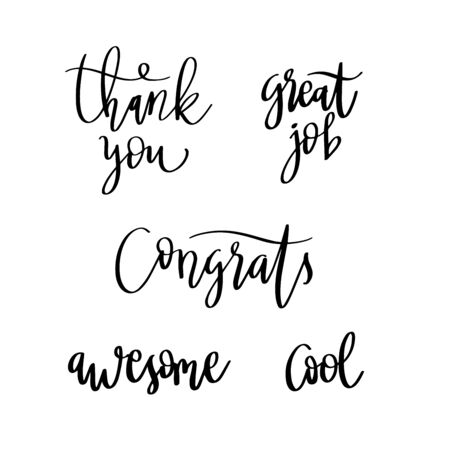 Lettering words. Compliment words. Thank you, congratulation. Vector doodle text.