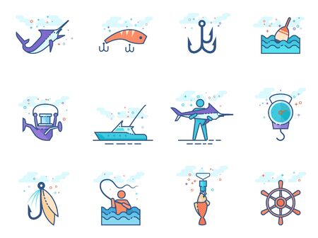 Fishing icons in flat color style. Vector illustration.