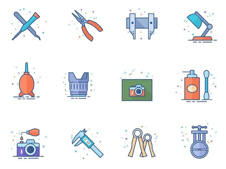 Camera repair tool icons in flat colors style. Vector illustration.