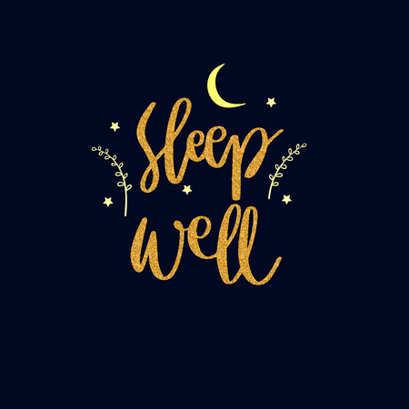 Lettering words in gold glitter style. Sleep well