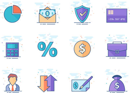 Finance icon series in flat colors style. Vector illustration.