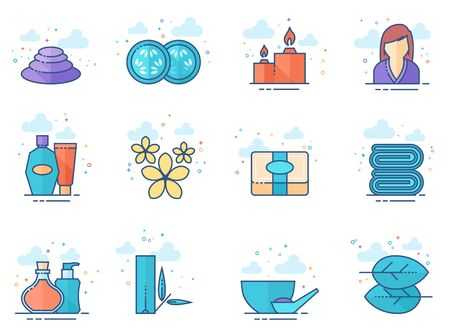 Spa related icon series in flat colors style. Vector illustration.
