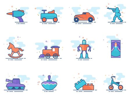Vintage toy icons in flat colors style. Vector illustration.