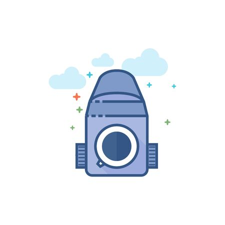 Camera icon in outlined flat color style Vector illustration. Ilustração