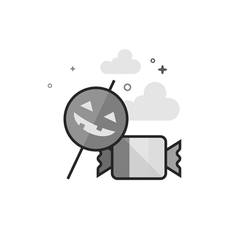 Candy icon in flat outlined gray scale style Vector illustration.
