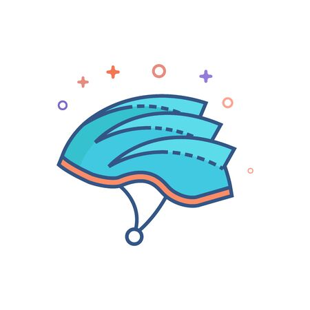 Bicycle helmet icon in outlined flat color style. illustration.