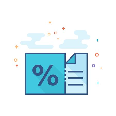 Discount ticket icon in outlined flat color style Vector illustration.