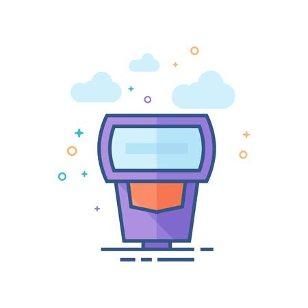 Camera flash icon in outlined flat color style Vector illustration.