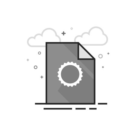 Contract document icon in flat outlined grayscale style Vector illustration.