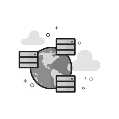 Server icon in flat outlined grayscale style Vector illustration.