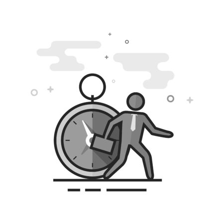 Businessman with clock icon in flat outlined grayscale style Vector illustration.