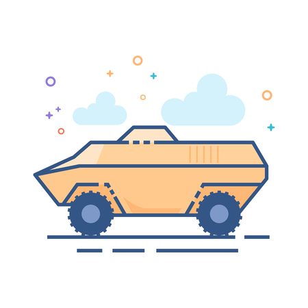Armored vehicle icon in outlined flat color style Vector illustration.