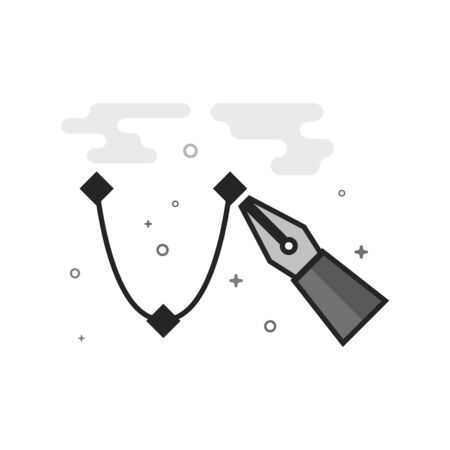 Bezier icon in flat outlined grayscale style. Vector illustration. Illustration