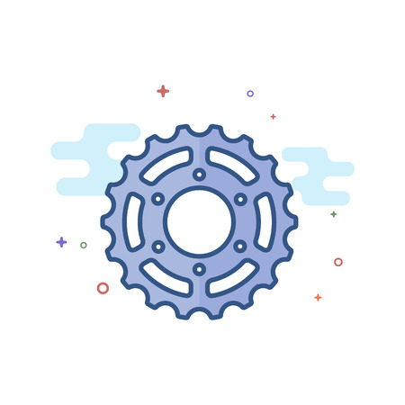 Sprocket icon in outlined flat color style Vector illustration.