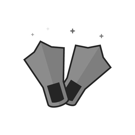 Diving fins icon in flat outlined grayscale style. Vector illustration.