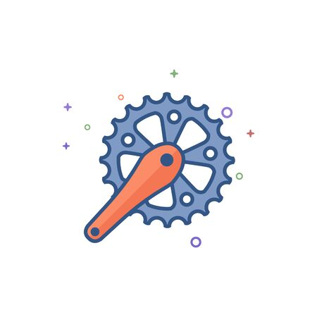 Bicycle crank set icon in outlined flat color style Vector illustration.