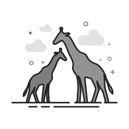 Giraffe icon in flat outlined grayscale style. Vector illustration.