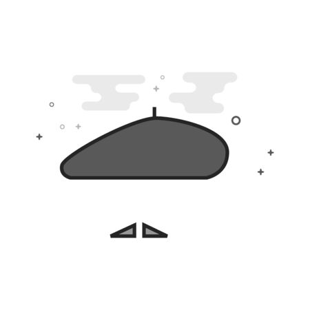 7ba30bdf514ab  94586983 - Painting artist beret and mustache icon in flat outlined  grayscale style. Vector illustration.