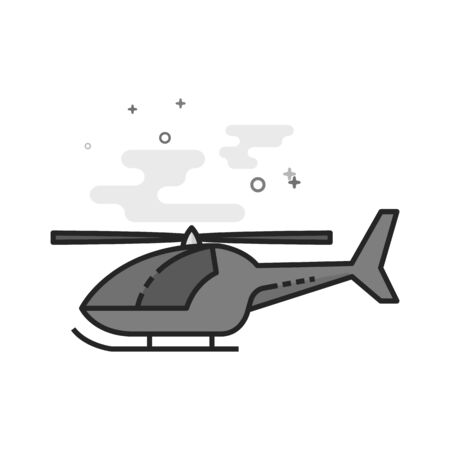 Helicopter icon in flat outlined grayscale style. Vector illustration.