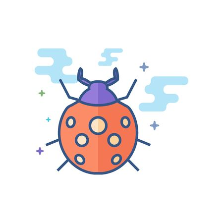 Bug icon in outlined flat color style. Vector illustration.