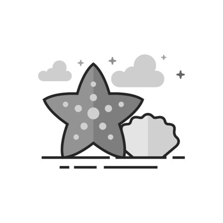 Star fish icon in flat outlined grayscale style. Vector illustration.