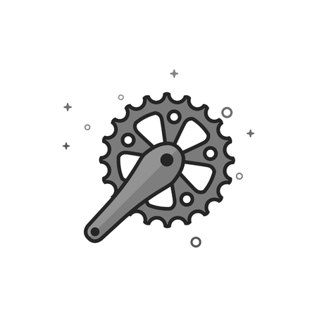 Bicycle crank set icon in flat outlined grayscale style. Vector illustration.