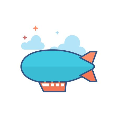 Airship icon in outlined flat color style. Vector illustration.