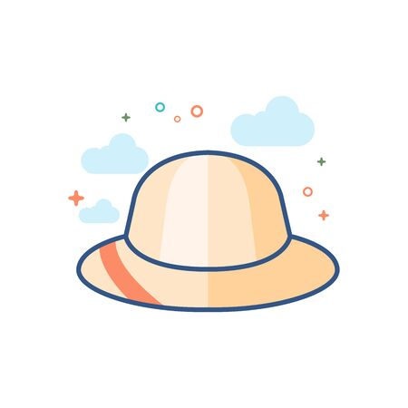 Hat icon in outlined flat color style Vector illustration.