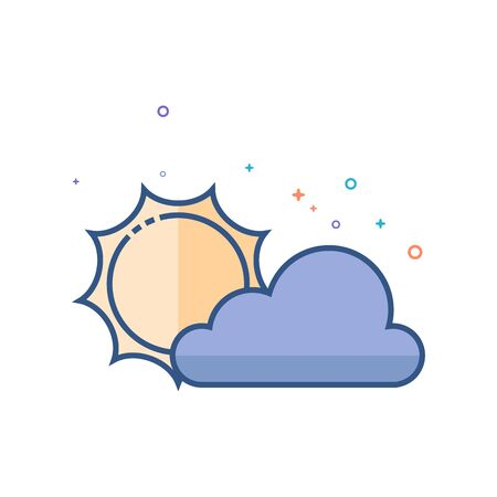 Weather forecast partly cloudy icon in outlined flat color style Vector illustration.