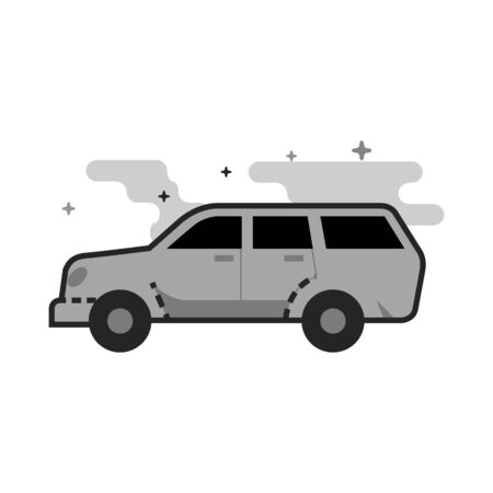 Car icon in flat outlined grayscale style Vector illustration.