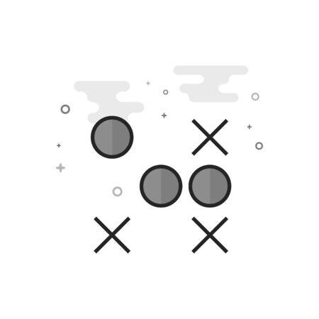 Strategy game icon in flat outlined grayscale style. Vector illustration.
