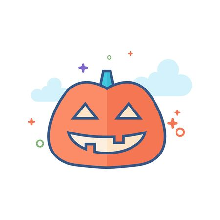 Pumpkin icon in outlined flat color style. Vector illustration.