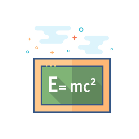 Blackboard icon in outlined flat color style. Vector illustration.