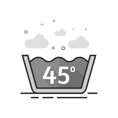Washing temperature icon in flat outlined grayscale style Vector illustration.