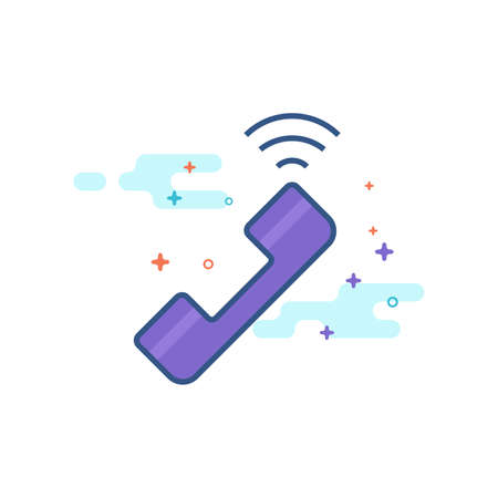 Wireless phone icon in outlined flat color style Vector illustration.