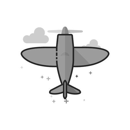 Vintage Airplane icon in flat outlined grayscale style Vector illustration. Illusztráció