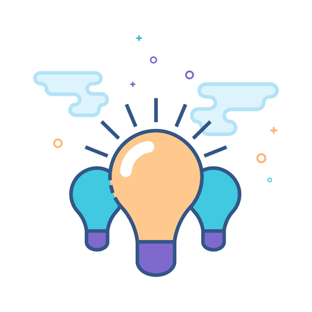 Light bulb icon in outlined flat color style. Vector illustration. Vettoriali