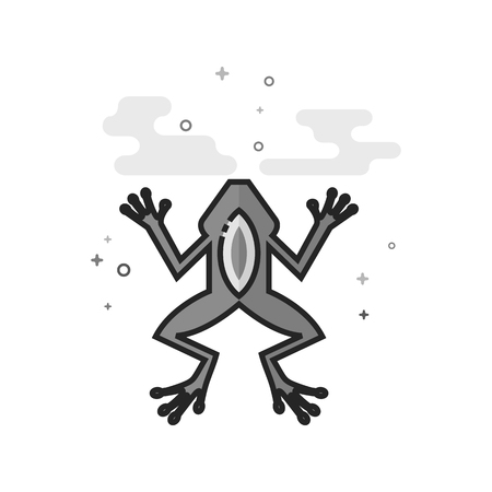 Lab frog icon in flat outlined grayscale style. Vector illustration.
